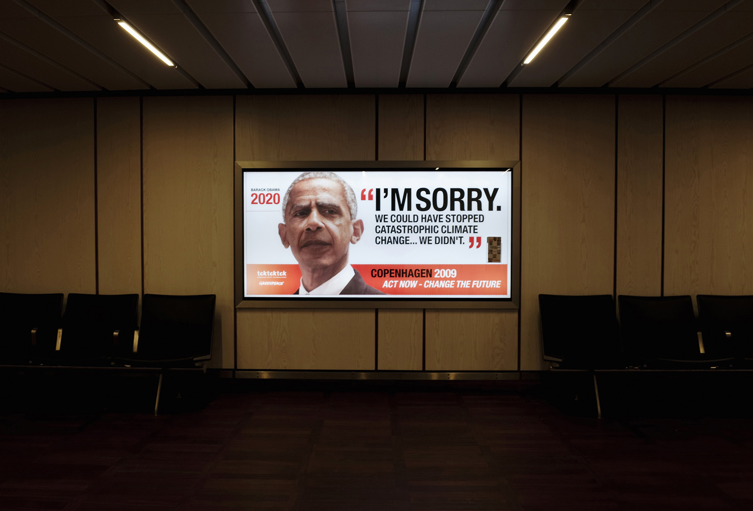Copenhagen, Denmark.Adverts with heads of state placed in Copenhagen International Airport by the global coalition, tcktcktck and Greenpeace, calling on world leaders to secure a fair, ambitious and binding deal at the Copenhagen Climate Summit (COP15). The ads  feature a doctored image of a current world leader - so that they look about ten years older - apologising from the future for not taking action when they had the opportunity.