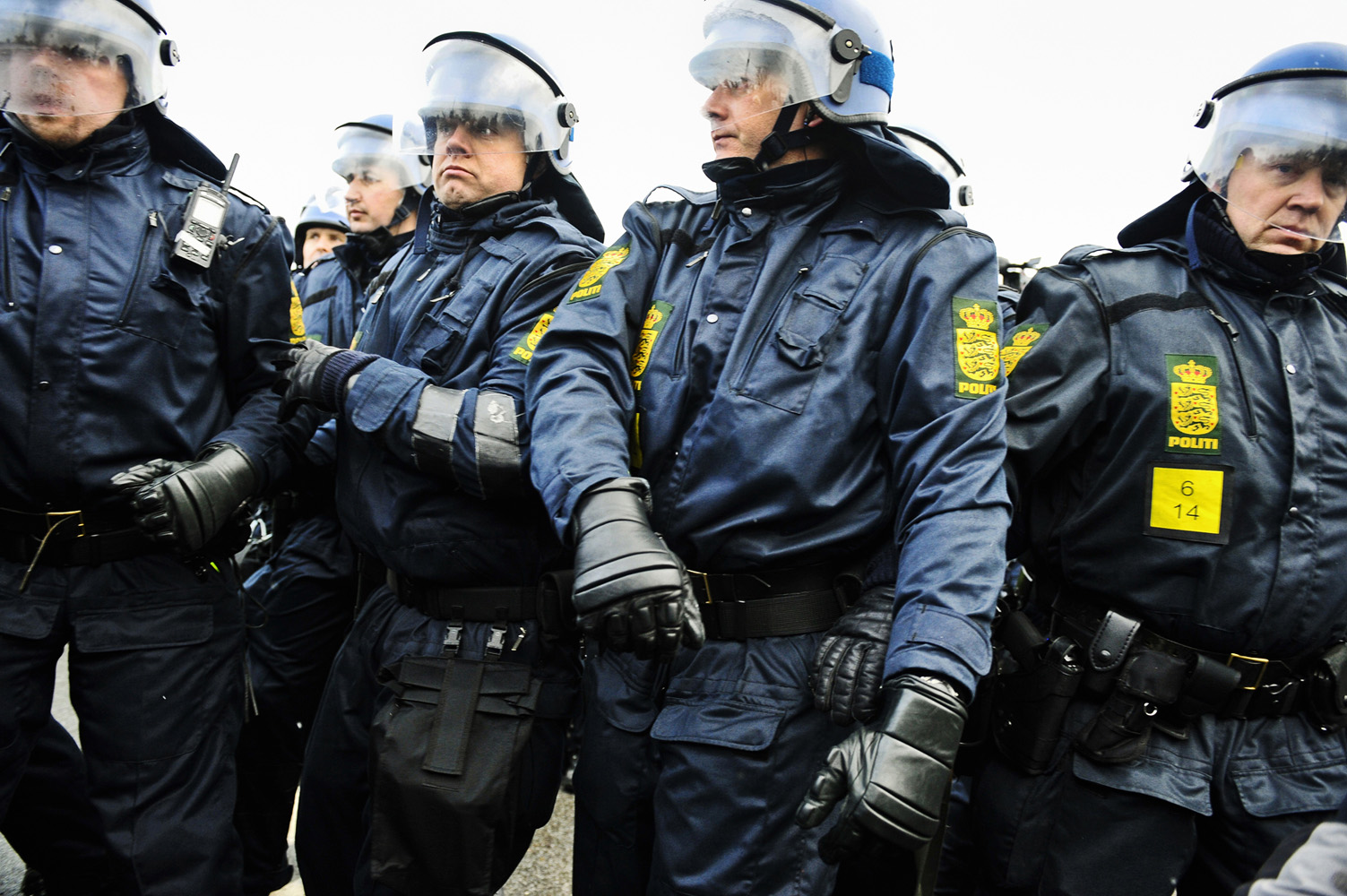 Copenhagen, Denmark - December 16 2009Riot Police pushing back some of the thousand of demonstrators that set off for a planned mass invasion of Bella Center, the conference hall for UN:s climate meeting, Cop-15, in Copenhagen. Reclaim Power march, organized by Climate Justice Action and Climate Justice Now!, was a protest against the outcome of the meeting and the failure to secure a fair, ambitious and binding deal.