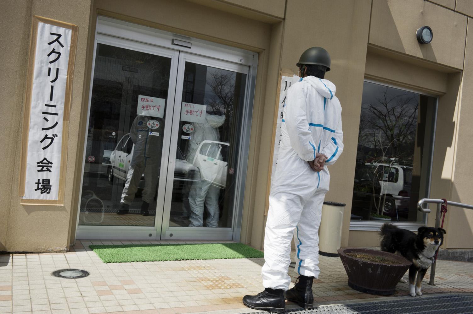 Kawamata,  Japan, 26 March 2011 Governmental screening centre for radioactivity at Kawamata City, 60 km from Fukushima Nuclear Power Plant.