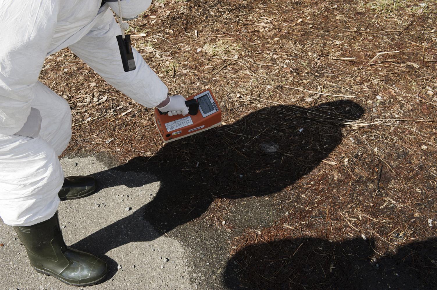 Tsushima,  Japan, 26 March 2011 Greenpeace monitoring radioactivity at Tsushima village, 40 km from Fukushima Nuclear Power Plant.