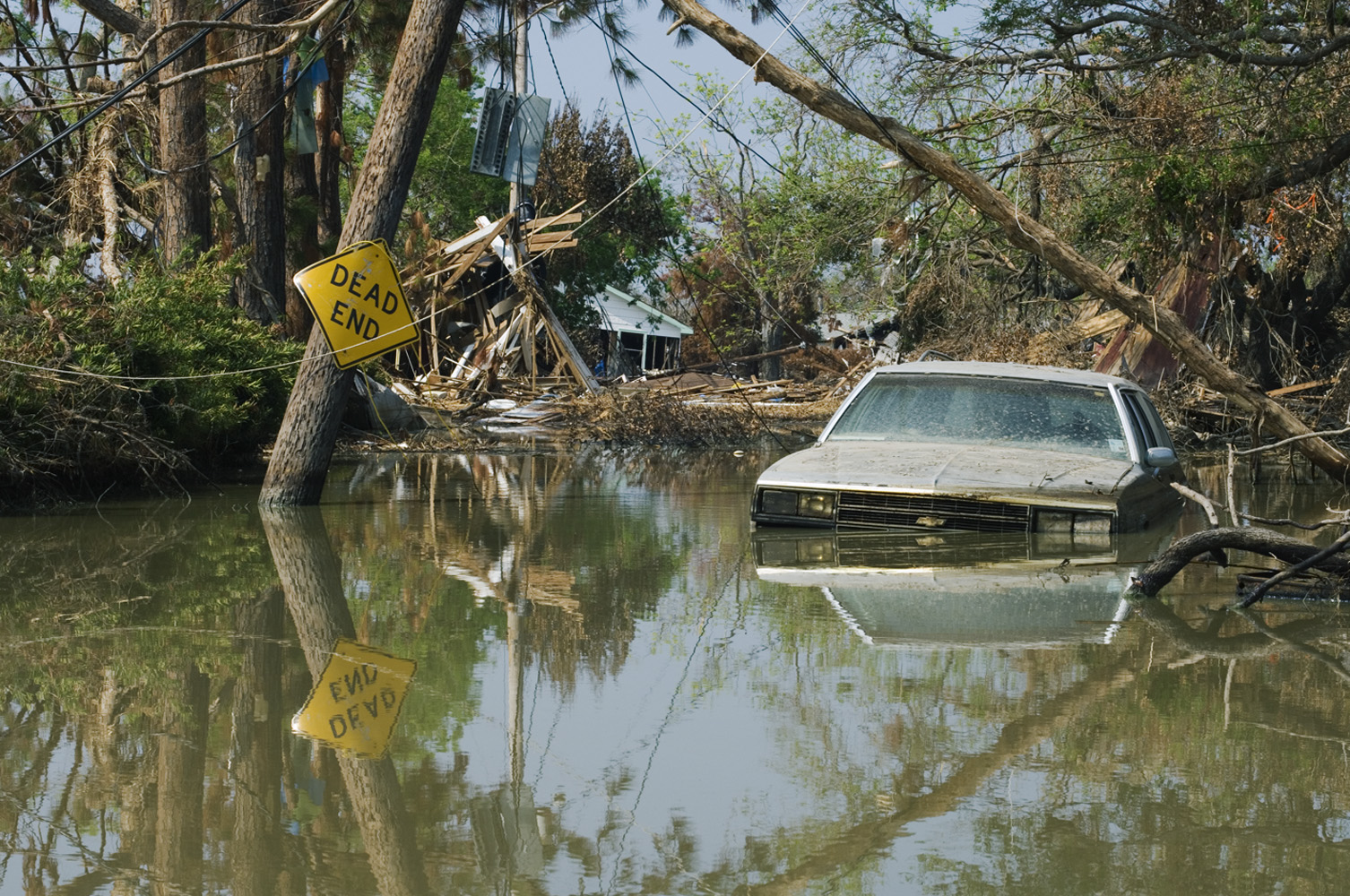 19 September 2005 Plaquemines Parish, Louisiana, USA. Day 21 after hurricane Katrina. Devastation is total and villages are still flooded with contaminated water.