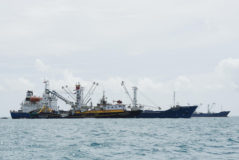 Betio, Tarawa Island, Kiribati, Pacific Ocean Purse seine fishing vessel FAIR BRAVO NO.707 from Taiwan, outside the harbour of Betio on Tarawa Island transhipping tuna to the South Korean reefter PHAROSTAR . The helicopter is used to search for tuna schools.