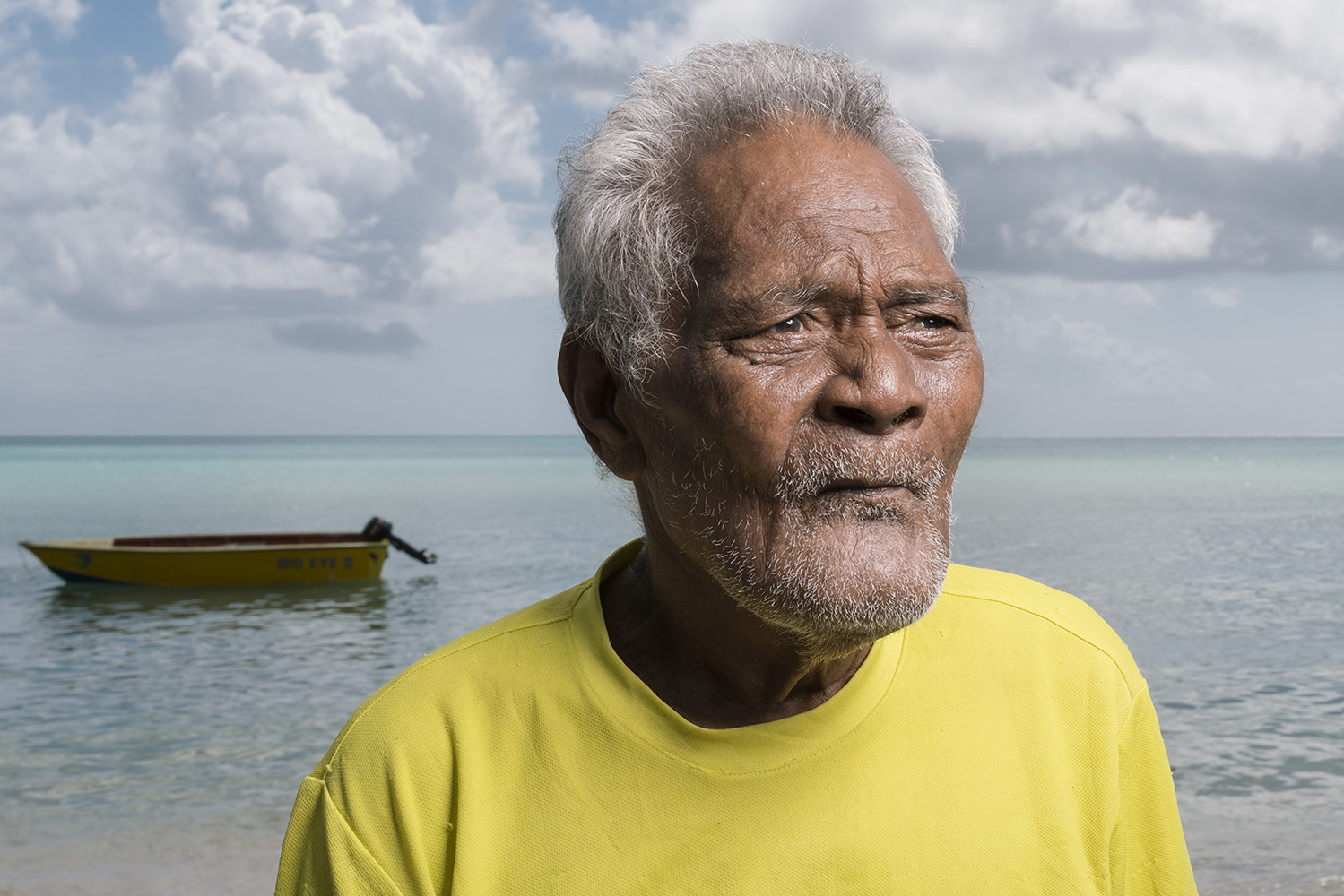 Betio, Tarawa Island, Kiribati, Pacific Ocean Toukin Ataua, 68 years, is a former fisherman living in the tuna fishing community Te O Ni Beeki, on Tarawa Island, Kiribati. He has been fishing for over 50 years. He says that before they used to get a lot of fish but they don't get many anymore. To Kiribati people, fish is life. They eat fish every day. If there's no tuna, they can't eat. The big ships take all the fish but none of the money comes back to the Kiribati people.