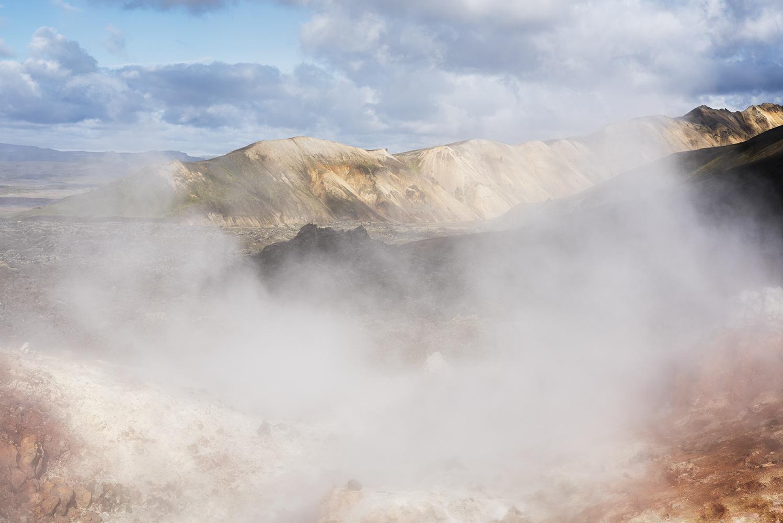Geothermal smoke, Colorful rhyolite mountains, Landmannalaugar, Fjallabak Nature Reserve, Highland of Iceland