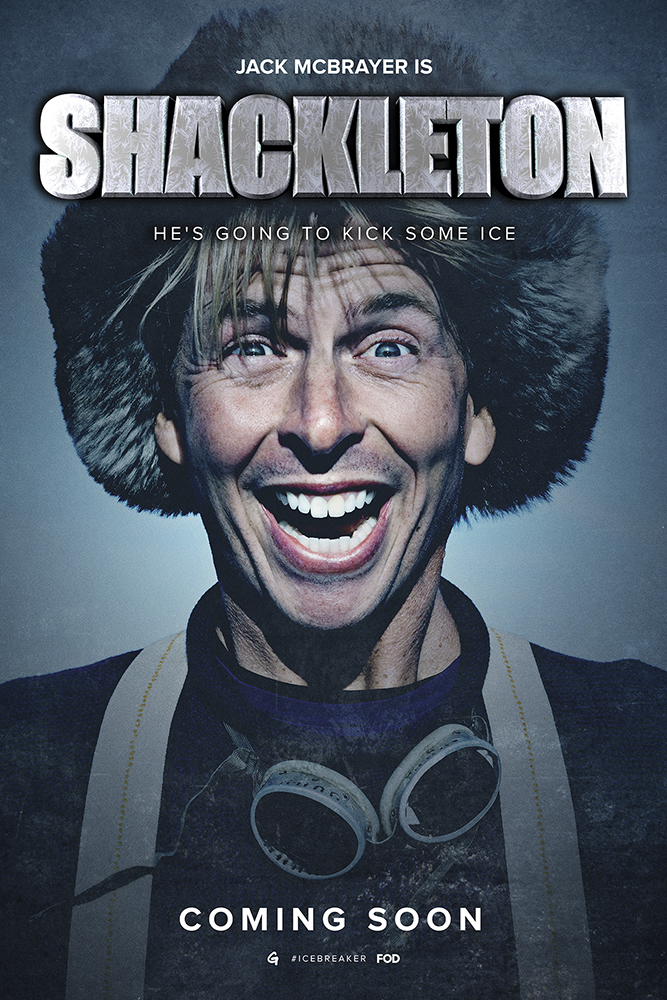 Image of actor Jack McBrayer starring in the spoof film Shackleton, for the comedy video website Funny Or Die.  True Blood star Alexander Skarsgard and 30 Rock's Jack McBrayer teamed up with Funny or Die and Greenpeace on Greenland to film the three-part mini series – 'Jack & Alex Set Sail'