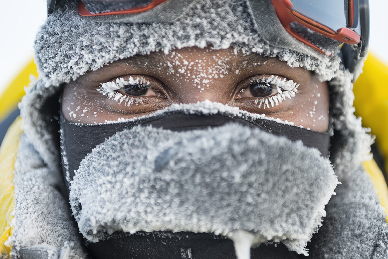 Renny Bijoux, youth ambassador from the Seychelles, participating in the Greenpeace North Pole expedition. The team, most of them without any previous polar experience, skied to the North Pole and lowered a capsule 4.3 Km onto the sea bed, containing signatories to their campaign to protect the Arctic from industrial development.