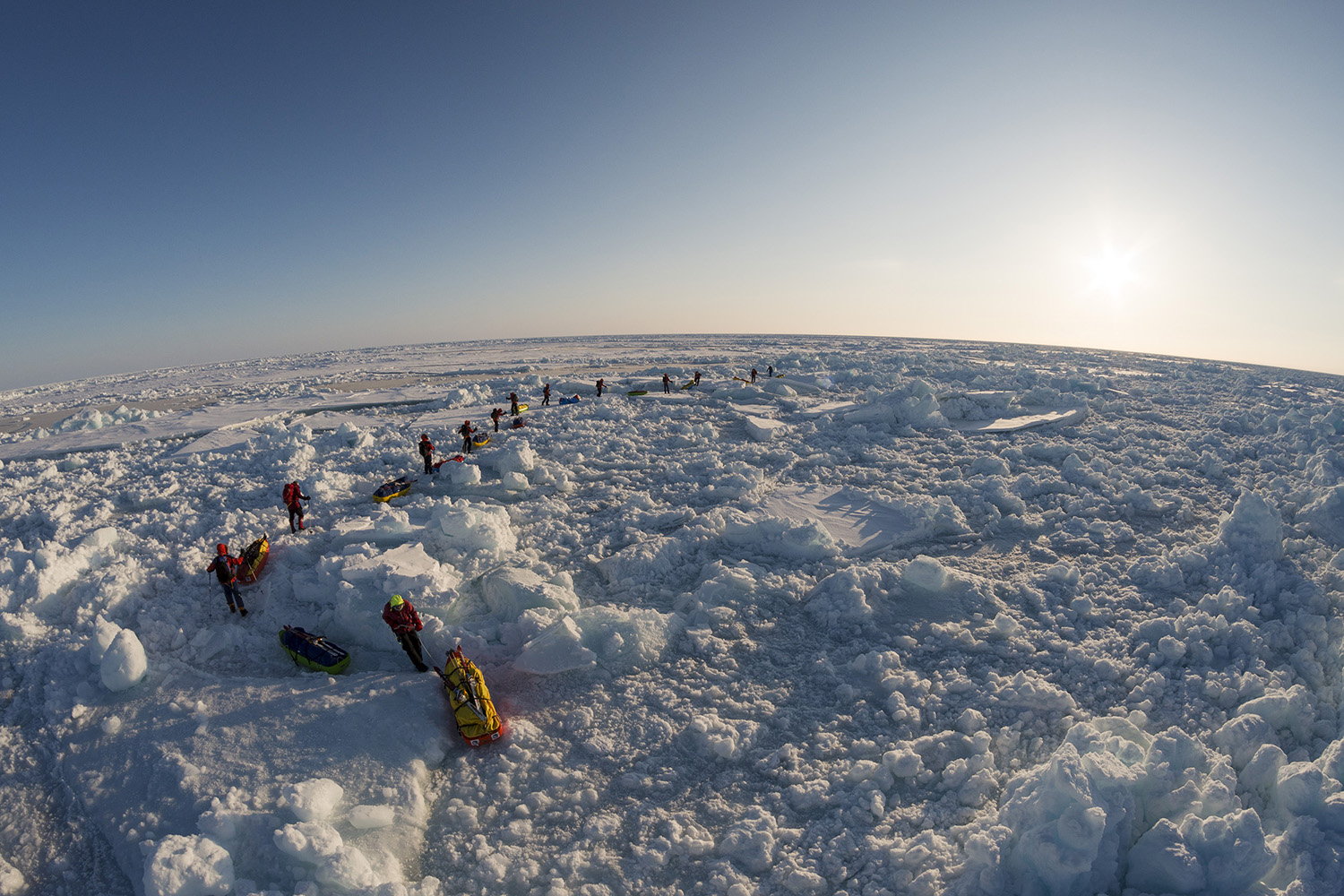 Greenpeace North Pole expedition. The team, most of them without any previous polar experience, skied to the North Pole and lowered a capsule 4.3 Km onto the sea bed, containing signatories to their campaign to protect the Arctic from industrial development.