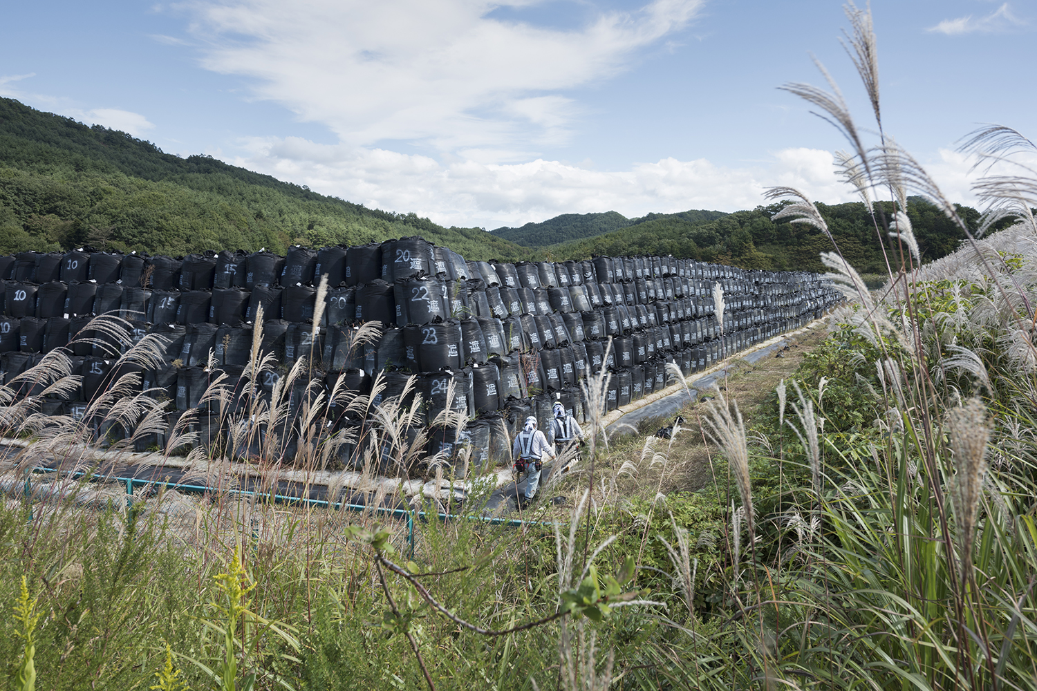 Nuclear waste storage area in Iitate, Fukushima prefecture in Japan. Adopting a return to normal policy, the Japanese government undertook an unprecedented decontamination program for areas of Fukushima contaminated by the tripe reactor meltdown in March 2011. Fukushima prefecture is 70 percent mountainous forest which has not and cannot be decontaminated, with decontamination efforts focused along roads and in towns, farmland and in narrow areas around people's houses. Even so, the result has been that the Japanese authorities have produced a nuclear waste crisis, with over 13 million cubic meters of waste located in 147,000 locations (as of July 2017). The Japanese government is determined to force people back to their homes despite the on-going radiation risks and the vast volumes of nuclear waste.