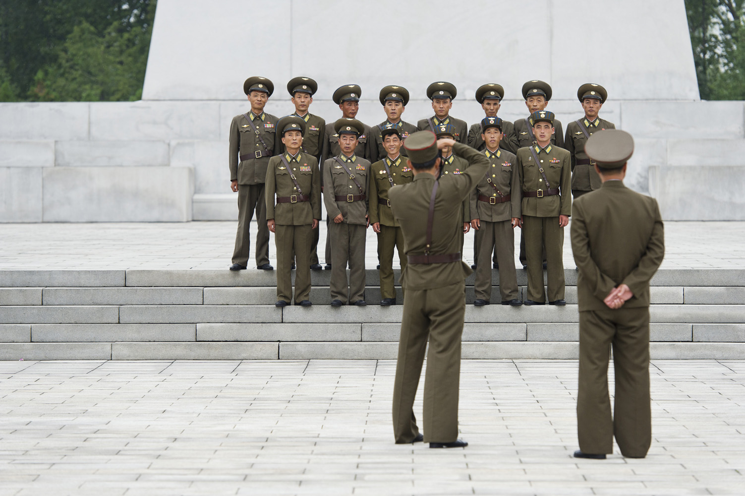 North Korean soldiers taking a group portrait in the capital Pyongyang.