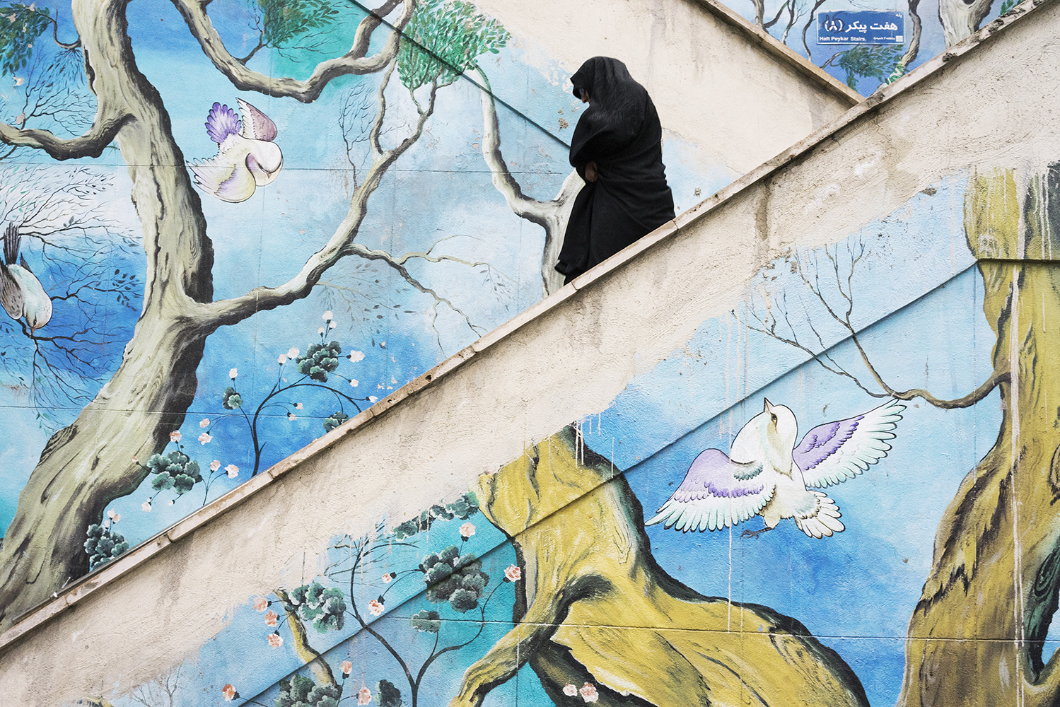 Woman wearing a Chador walking down stairs next to a colorful mural in the North of Tehran. After the islamic revolution in Iran 1979, women are forced to cover their hair wearing a Islamic hijab in public places or they can be sentenced to ten days, and up to two months imprisonment, according the the Islamic Penal Code.