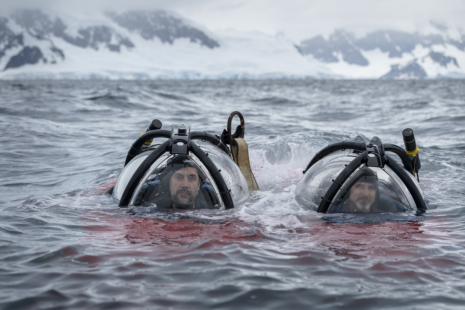 Actor and Antarctic ambassador Javier Bardem and submarine pilot John Hocevar coming up the the surface after exploring the Antarctic seafloor on around 270 meters depth in Charlotte Bay off the Gerlache Strait.