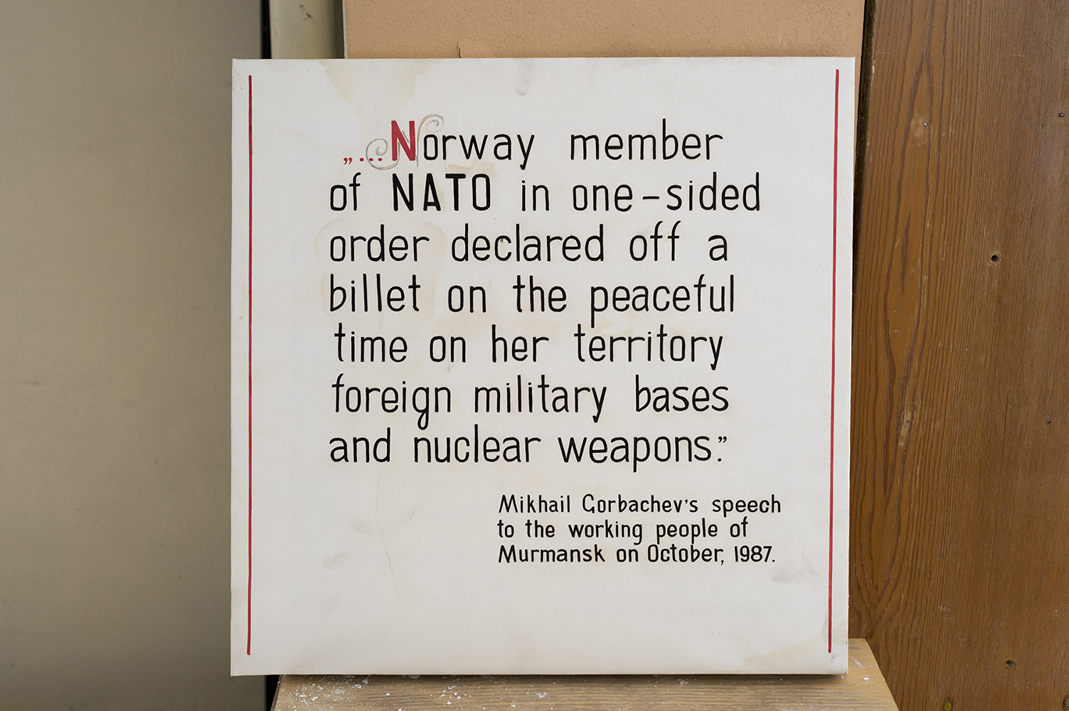 Placard with a quote from Mikhail Gorbachev.Pyramiden is a Russian settlement and coal mining community on the archipelago of Svalbard, Norway. Founded by Sweden in 1910 and sold to the Soviet Union in 1927, Pyramiden was closed in 1998 and has since remained largely abandoned with most of its infrastructure and buildings still in place.