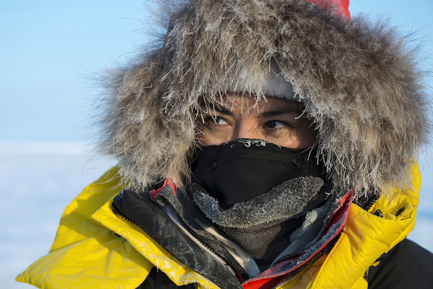 Kiera Kolson from Canada, an Arctic ambassador with the North Pole expedition team, during a trek to the North Pole.