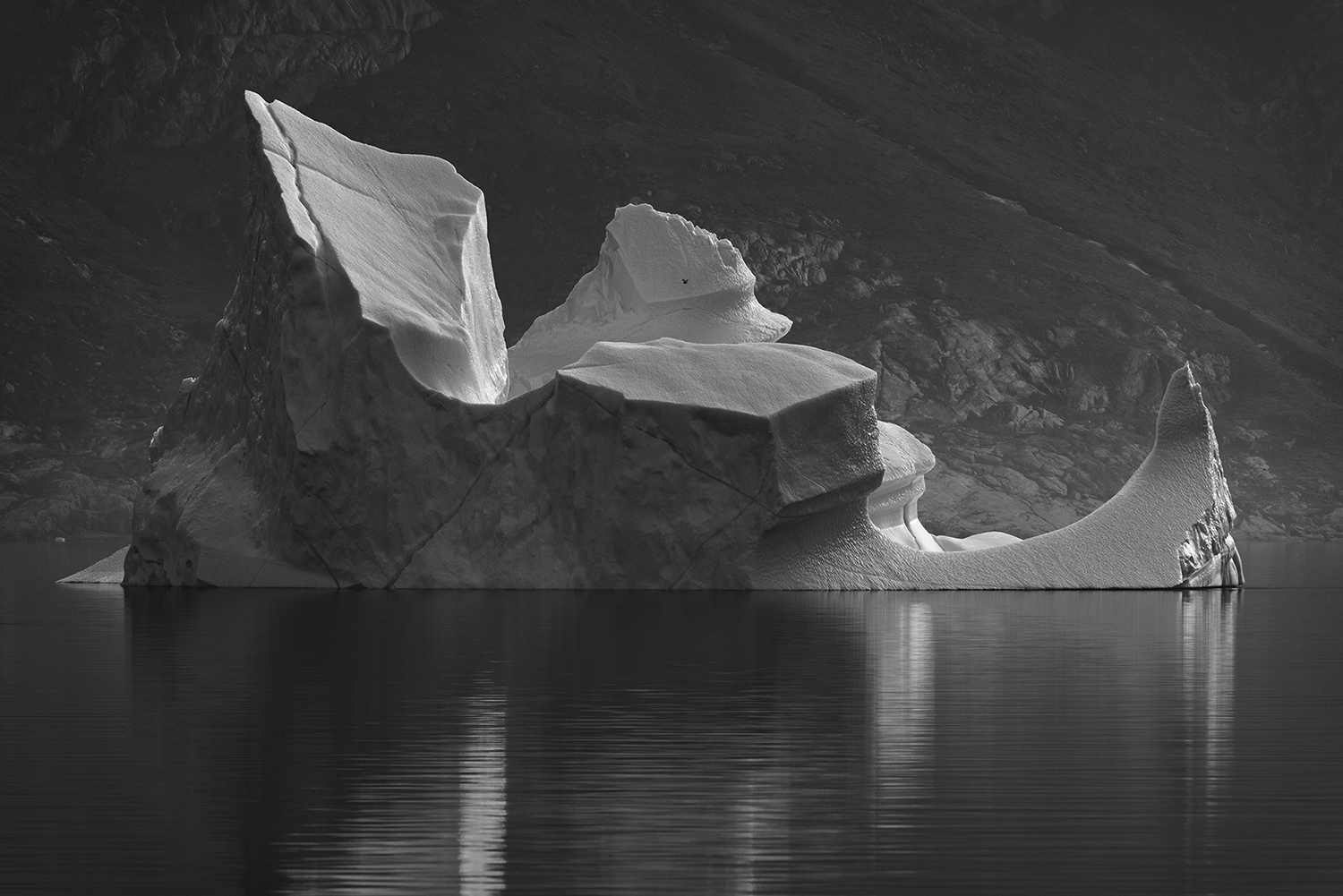 Icebergs drifting outside the coast of Greenland. Positioned in the Arctic, Greenland is especially vulnerable to climate change and has experienced record melting in recent years and is likely to contribute substantially to sea level rise as well as to possible changes in ocean circulation in the future. Glaciers worldwide store about 75 percent of the world's fresh water and if all land ice melted, sea level would rise approximately 70 meters worldwide.