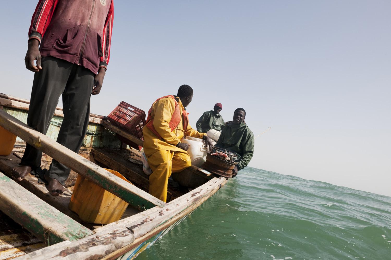 Atlantic Ocean, Mauritania, 8 March  2010 Pirogue fishing boat.