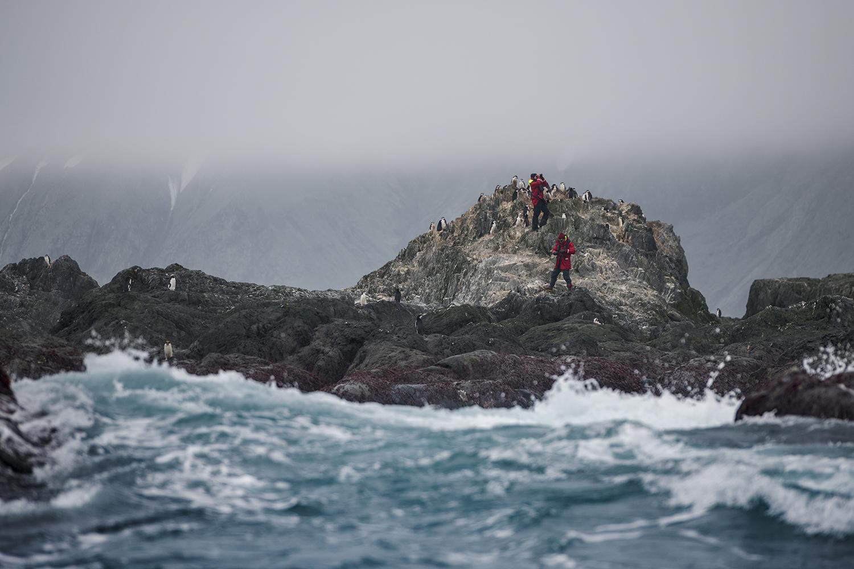Penguin scientists Noah Strycker and Alex Borowicz from Stony Brook University at Elephant Island, South Shetland Islands, Antarctica.