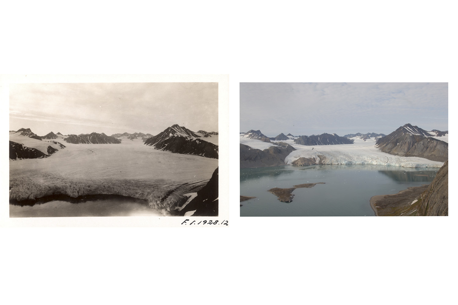 "Glacier ""Blomstrandbreen"" has retreated nearly 2 km since 1928, with an accelerated rate of 35 metres lost per year since 1960 and even higher in the past decade. B/w image courtesy of Norwegian Polar Institute. Color image Christian Aslund/Greenpeace"